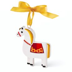 Елочная игрушка Лошадка в пенале, разноцветная фото
