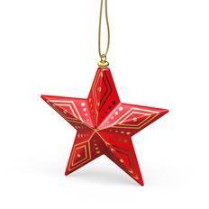 Елочная игрушка «Новогодняя Звезда» в пенале, красная / золотая фото