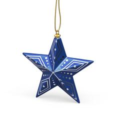 Елочная игрушка «Новогодняя Звезда» в пенале, синяя / золотая фото