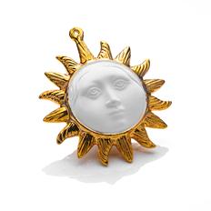Елочная игрушка Солнышко в упаковке багет, белая / золотая  фото