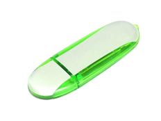 Флешка промо USB 2.0 на 8 Гб овальной формы, белая / зелёная фото