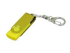 Флешка промо USB 3.0 на 128 Гб с поворотным механизмом и однотонным металлическим клипом, жёлтая фото