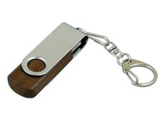 Флешка промо USB 3.0 на 32 Гб с поворотным механизмом, серебристая / тёмное дерево фото