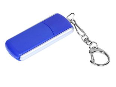 Флешка промо USB 3.0 на 32 Гб с прямоугольной формы с выдвижным механизмом, синяя фото