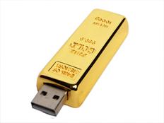 Флешка USB 2.0 металлическая 4 Гб в виде слитка золота, золотистая фото