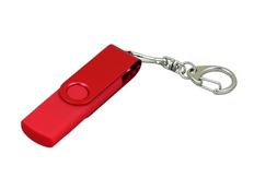 Флешка USB 2.0 на 64 Гб с поворотным механизмом и дополнительным разъемом Micro USB, красная фото