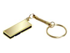 Флешка USB 2.0 на 8 Гб с поворотным механизмом и зеркальным покрытием, золотая фото