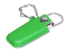 Флешка USB 2.0 на 8 Гб в массивном корпусе с кожаным чехлом, зелёная / серебристая фото