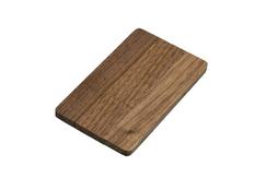 Флешка USB 2.0 на 8 Гб в виде деревянной карточки с выдвижным механизмом, тёмное дерево фото