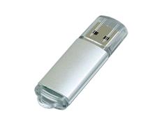 Флешка USB 3.0 на 32 Гб с прозрачным колпачком, серебристая фото