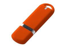 Флешка USB 3.0 на 32 Гб с soft-touch покрытием, оранжевая фото