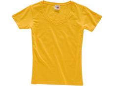 Футболка женская с V образным вырезом US Basic Heavy Super Club, желтая фото