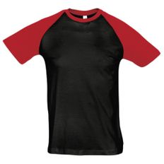 Футболка мужская Sol's Funky 150, черная / красная фото