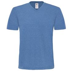 Футболка мужская с V образным вырезом B&C Mick Deluxe, синий меланж фото