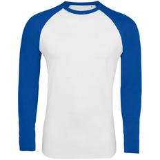 Логслив мужской Sol's Funky LSL, белый/ ярко-синяя фото