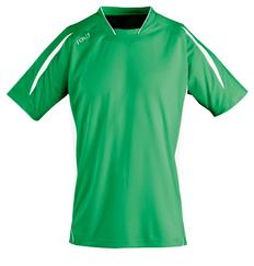 Футболка спортивная из сетки унисекс Sol's Macarana 140, зеленая/ белая фото