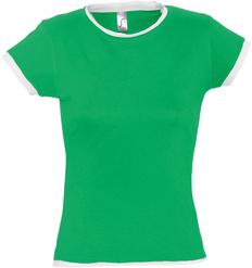 Футболка женская Sol's Moorea 170, зеленая / белая фото