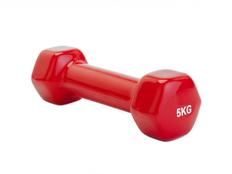 Гантель обрезиненная Hulk 5 кг, красная фото