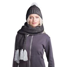 Набор GoSnow: вязаный шарф и шапка, антрацит/ меланж фото