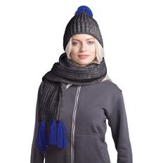 Набор GoSnow: вязаный шарф и шапка, антрацит/ синий фото