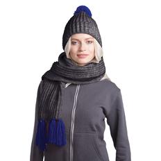 Набор GoSnow: вязаный шарф и шапка, антрацит/ темно-синий фото