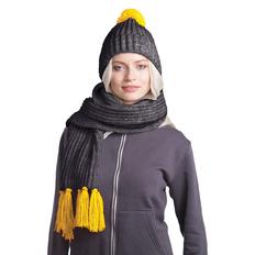 Набор GoSnow: вязаный шарф и шапка, антрацит/ желтый фото