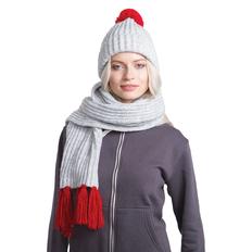 Набор GoSnow: вязаный шарф и шапка, светлый меланж/ красный фото