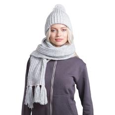 Набор GoSnow: вязаный шарф и шапка, светлый меланж/ светлый меланж фото