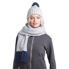 Набор GoSnow: вязаный шарф и шапка, светлый меланж/ темно-синий фото