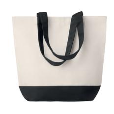 Холщовая пляжная сумка, бежевая/чёрная, 170г/м2 фото
