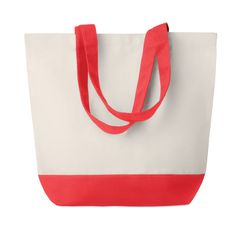 Холщовая пляжная сумка, бежевая/красная, 170 г/м2 фото