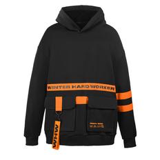 Худи Otvet Za Shmot «Оверсайз», чёрное / оранжевое фото