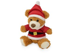 Игрушка плюшевый медведь Santa, коричневая / красная фото