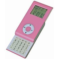 Калькулятор раздвижной с календарем и часами, розовый фото