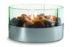 Камин настольный Magnifique с базальтовыми камнями, ver.2, серебристый / прозрачный фото
