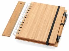 Набор канцелярский Franklin: блокнот на пружине, ручка шариковая, линейка, бамбук, древесный фото