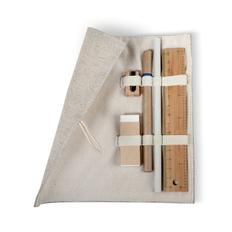 Набор канцелярский Эко: пенал, линейка, точилка, ластик, карандаш, ручка шариковая, серый фото