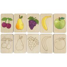Карточки-раскраски Wood Games, фрукты, бежевые фото
