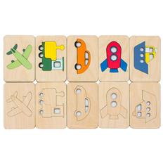 Карточки-раскраски Wood Games, транспорт, бежевые фото