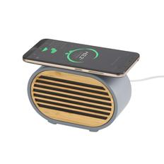 Колонка Bluetooth с функцией беспроводной зарядки Stonehenge, серая / бежевая фото
