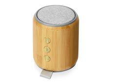 Колонка портативная из бамбука Bongo, серая / крафт фото