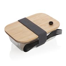 Контейнер для еды стеклянный с бамбуковой крышкой XD Collection, прозрачный / черный / крафт фото