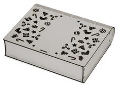 Коробка деревянная с резной крышкой Книга, L, серая фото