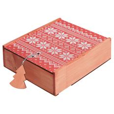 Коробка деревянная «Скандик», большая, красная / натуральное дерево фото