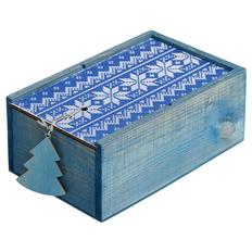 Коробка деревянная «Скандик», синяя фото