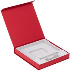 Коробка подарочная под ежедневник, аккумулятор и ручку Memoria, красная фото