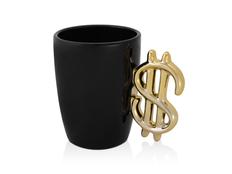 Кружка Доллар, черная/ золотистая фото