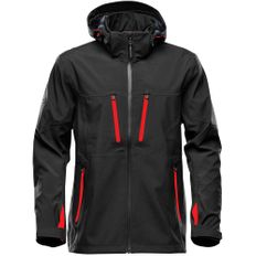 Куртка софтшелл с водонепроницаемыми молниями мужская Stormtech Patrol, черная/ красная фото