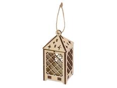 Лампа деревянная с электрической свечой Лампион, коричневая фото
