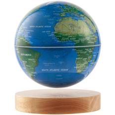 Лампа Левитирующий глобус GeograFly, голубая / коричневая фото